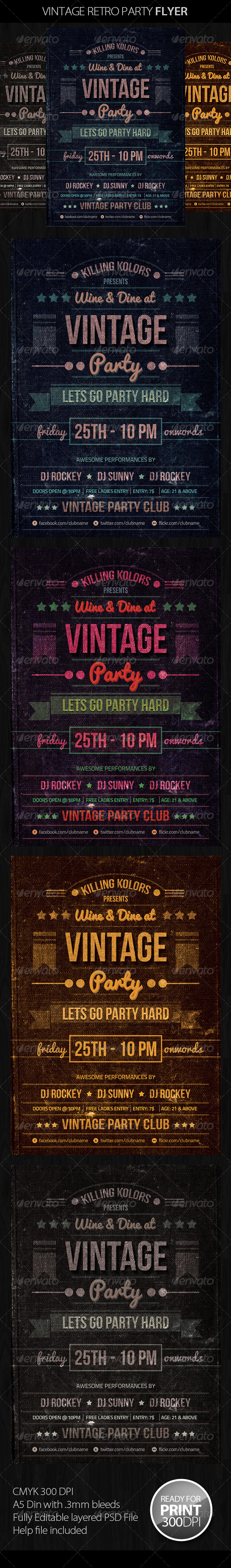 Vintage Retro Party Flyer - Clubs & Parties Events