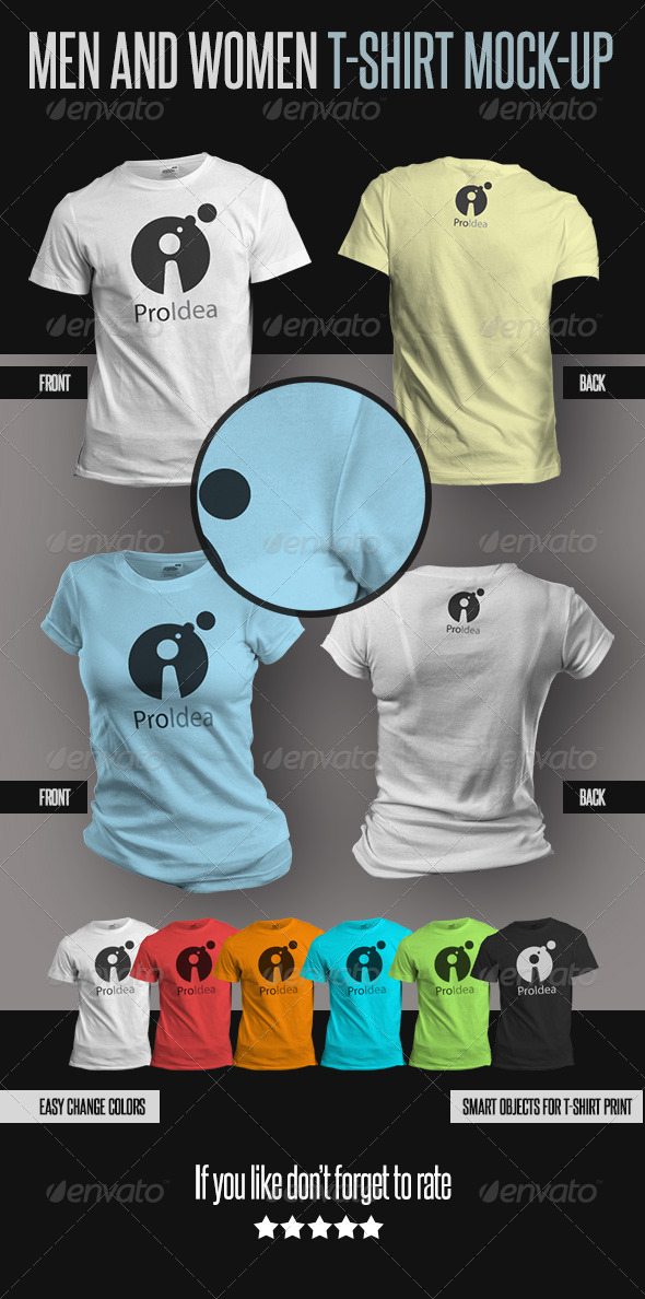 Men and Women T-Shirts Mock-Ups - T-shirts Apparel