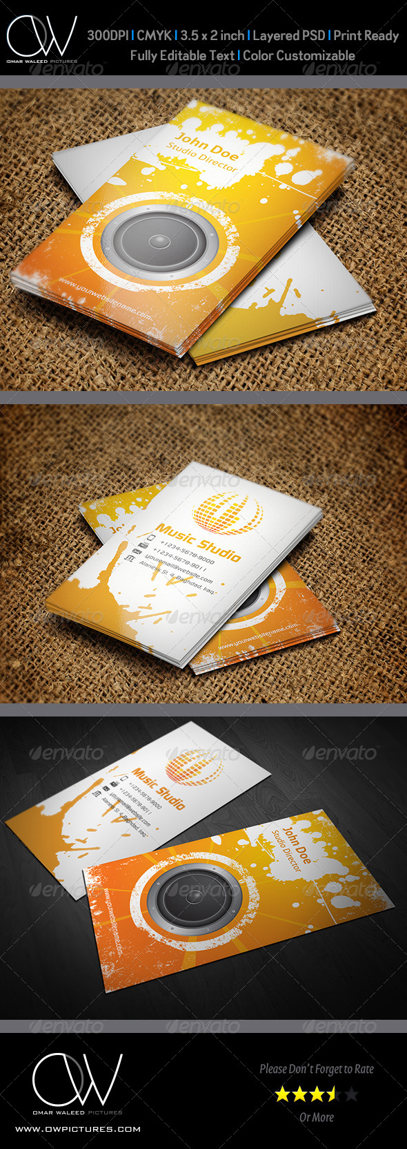 Music Studio Business Card Vol.2 - Business Cards Print Templates
