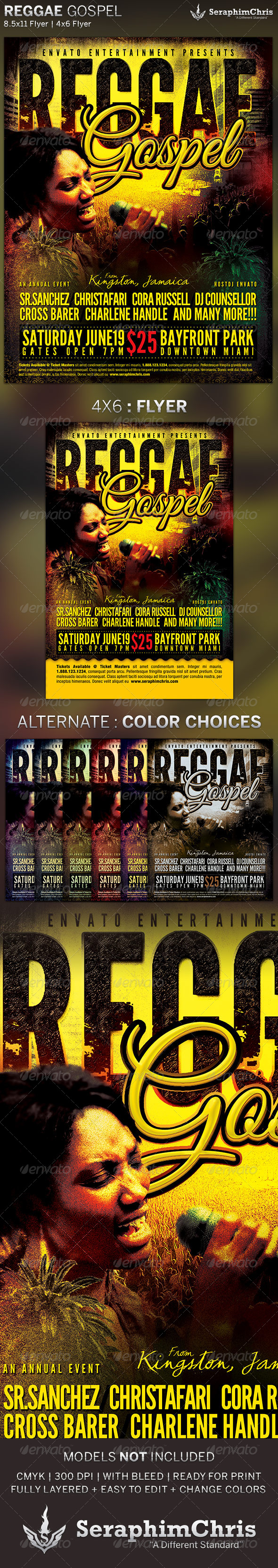 GraphicRiver Reggae Gospel Church Concert Flyer Template 4758748