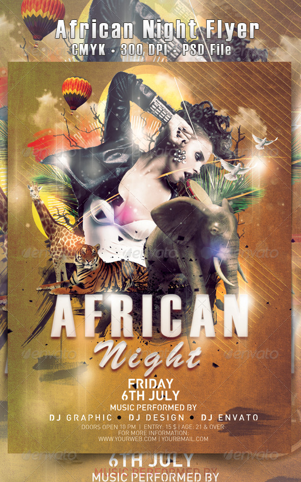 Jungle / African Night Flyer - Events Flyers