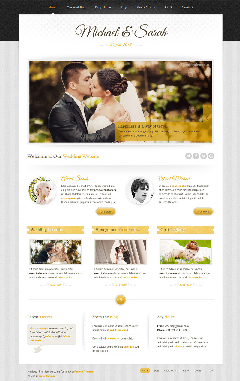 Marriage - Responsive Wedding Wordpress Theme - main page