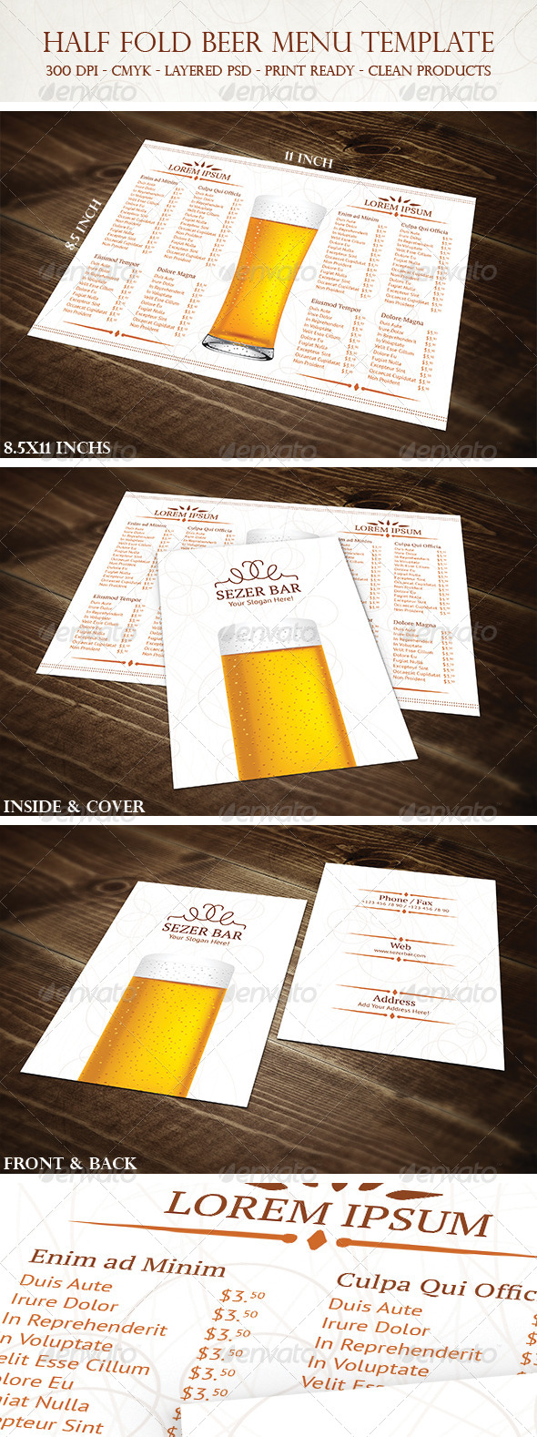 GraphicRiver Half Fold Beer Menu Template 4680170