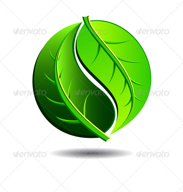 GraphicRiver Green Symbol Concept Yin Yang in a Leaf Design 4752660