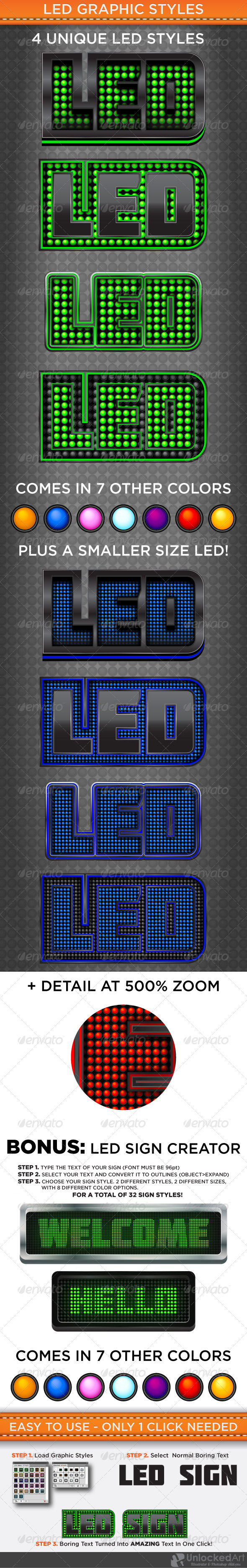 LED Graphic Styles - Styles Illustrator