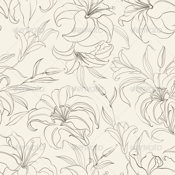 GraphicRiver Seamless Pattern with Blooming Lilies 4760975
