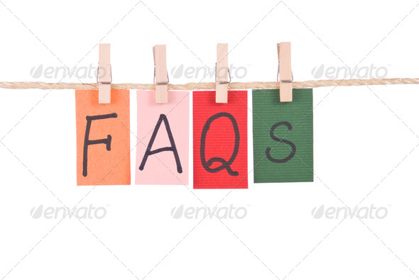 FAQS, Colorful words hang on rope - Stock Photo - Images