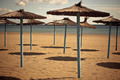 Line of Parasols at Spanish Sand Beach - PhotoDune Item for Sale