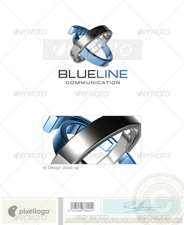 Communications Solutions BlueLine 3D Logo Template Design