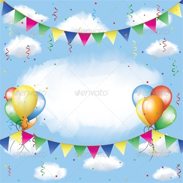 GraphicRiver Banner Balloons and Confetti in the Sky 4764282