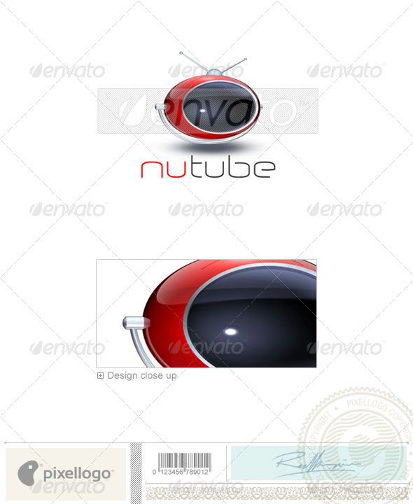 NuTube TV Activities & Leisure 3D Logo Template Design