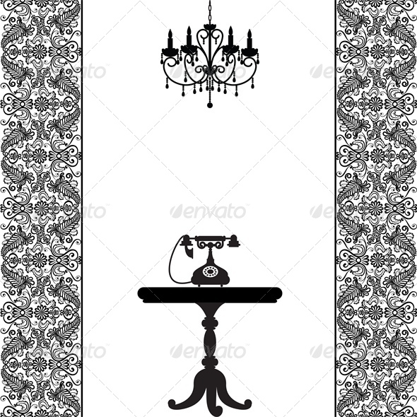 GraphicRiver Vintage Card with Telephone Table and Chandelier 4764301