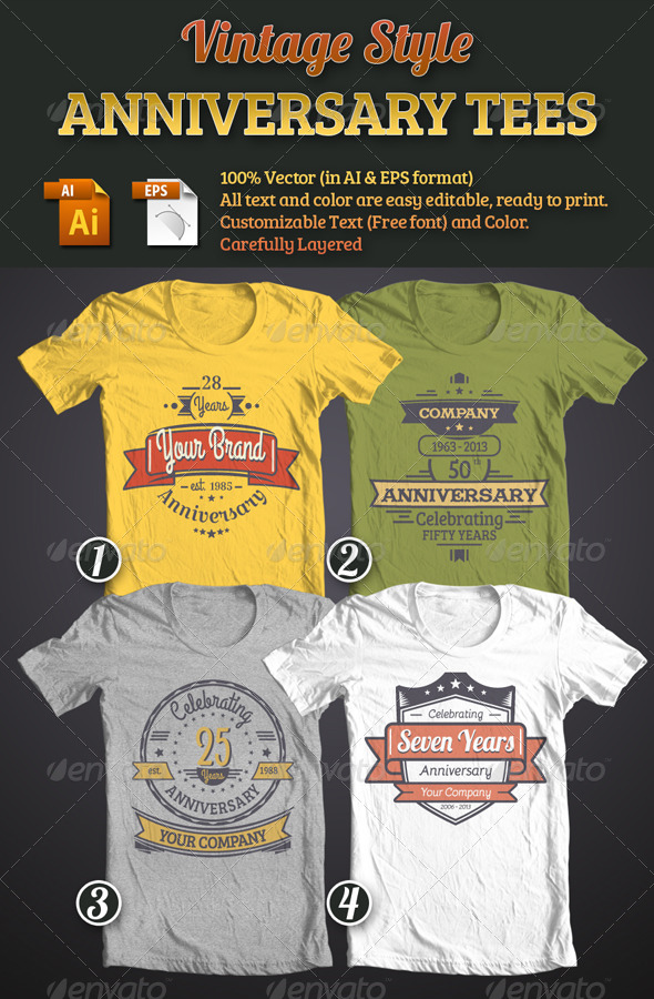 GraphicRiver Vintage Style Anniversary Tees Bundle 4752488