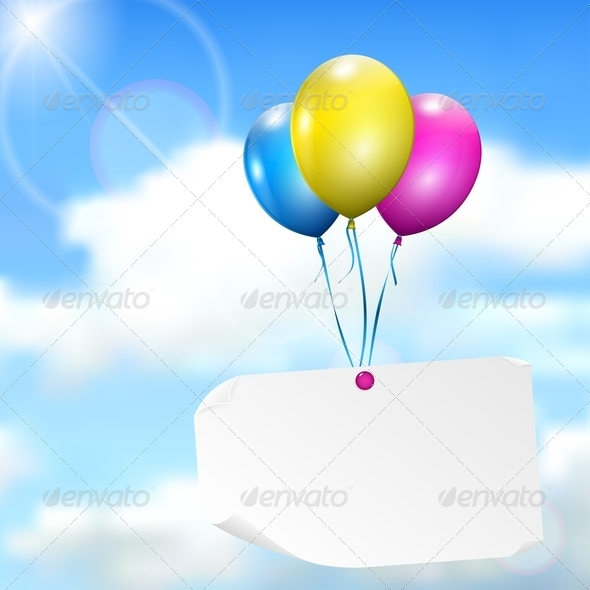 GraphicRiver Multicolored Balloons With Paper Card 4764851