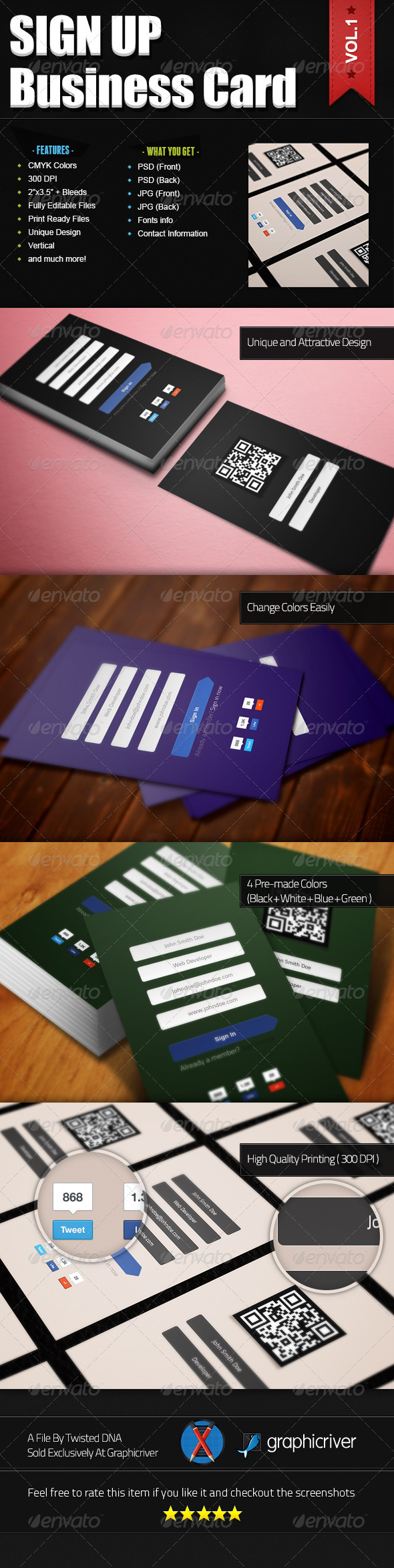 Sign Up Business Card - Creative Business Cards