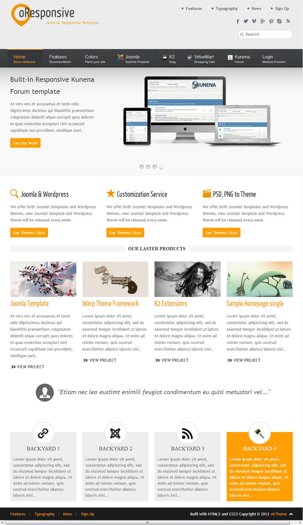 oResponsive -  Multipurpose Joomla Template