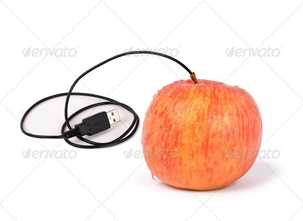 USB apple - Stock Photo - Images