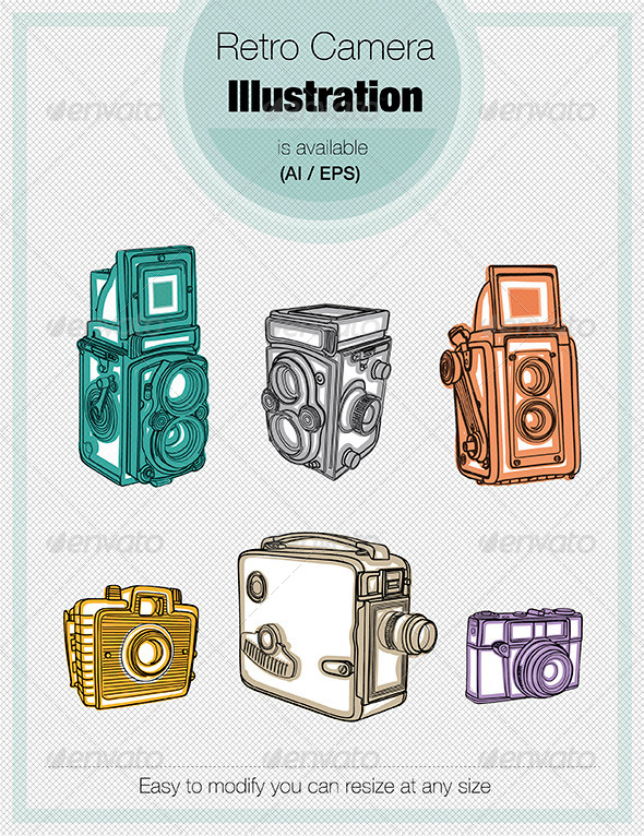 Retro Camera Illustration - Objects Vectors
