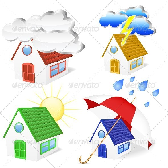 GraphicRiver 3D Houses with Weather Symbols Set 4767171
