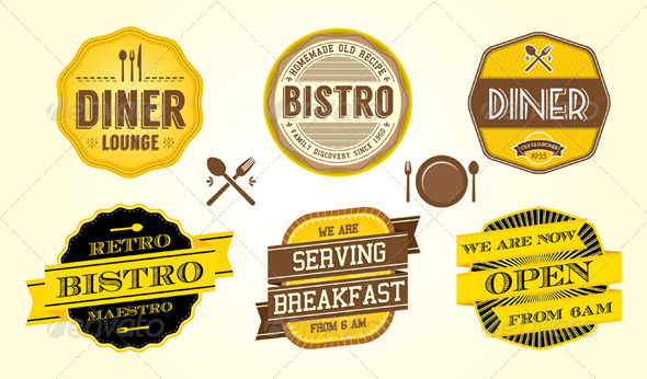 GraphicRiver Vintage Diner Cafe Badges 4768195