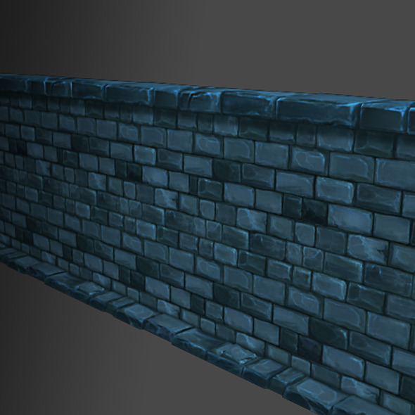3DOcean Low Poly Modular Dungeon Stone Wall Segment 4768884
