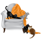 Cats Playing on a Chair-White Background - GraphicRiver Item for Sale