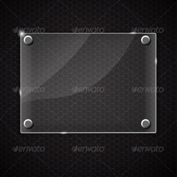 GraphicRiver Glass Frame on Abstract Metal Background 4769049