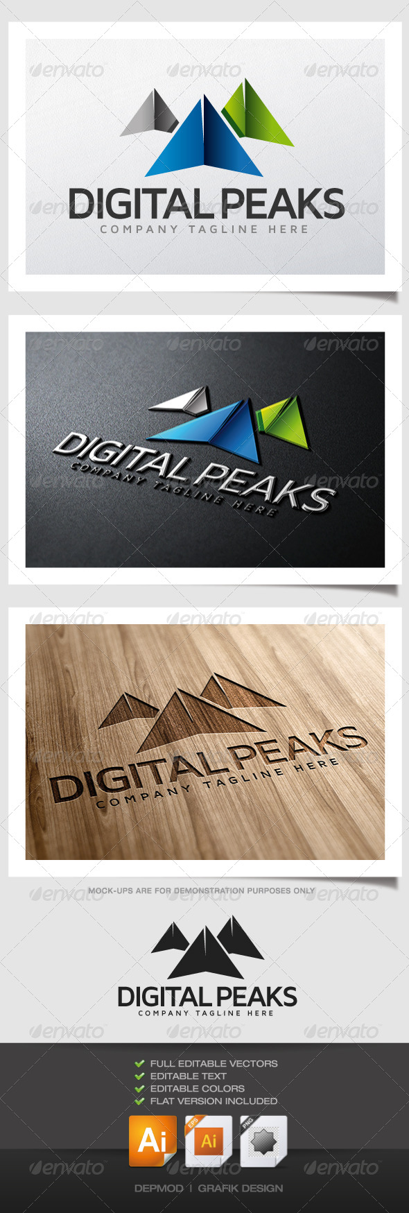 GraphicRiver Digital Peaks Logo 4769087