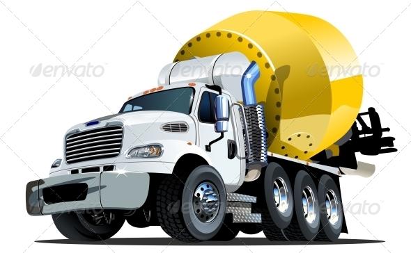 GraphicRiver Cartoon Mixer Truck one Click Repaint Option 4769230