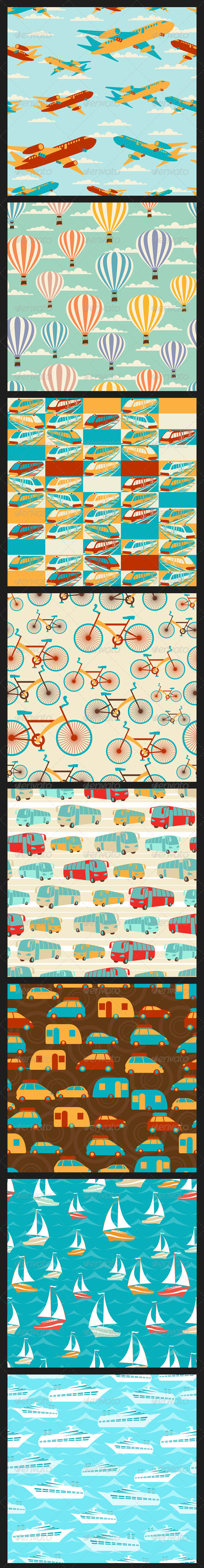 GraphicRiver Retro Travel Seamless Patterns 4770048