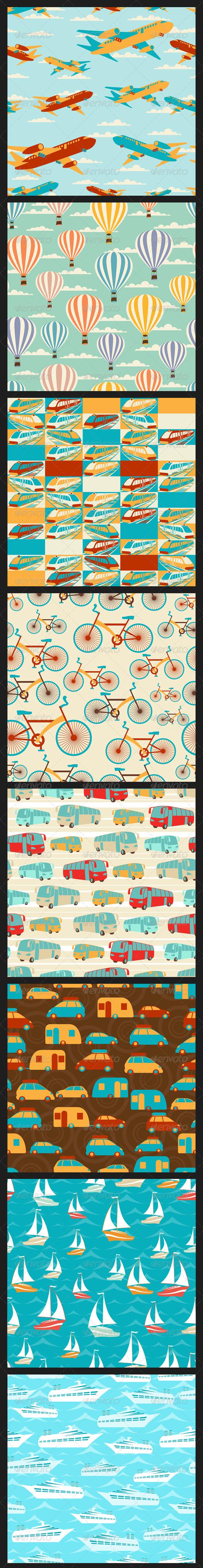GraphicRiver Retro Travel Seamless Patterns 4770048