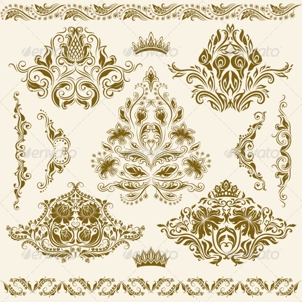 GraphicRiver Set of Vector Damask Ornaments 4771828