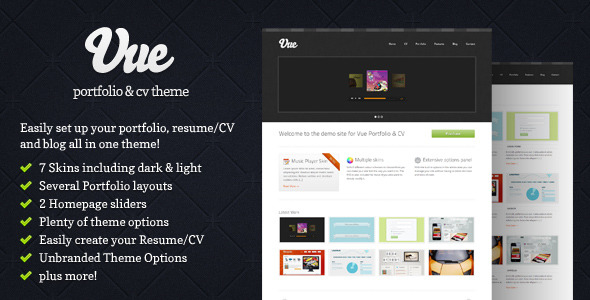 Vue - Portfolio & CV WordPress Theme - Vue Preview