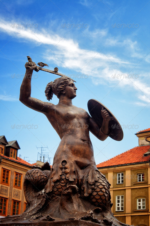 Siren Monument, Old Town in Warsaw, Poland - Stock Photo - Images
