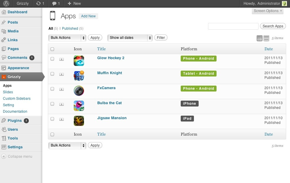 Grizzly - Responsive App Showcase / Corporate - Admin Panel - App list page