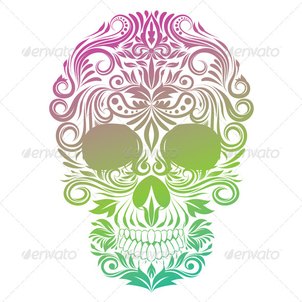 GraphicRiver Floral Ornament Human Skull 4777242