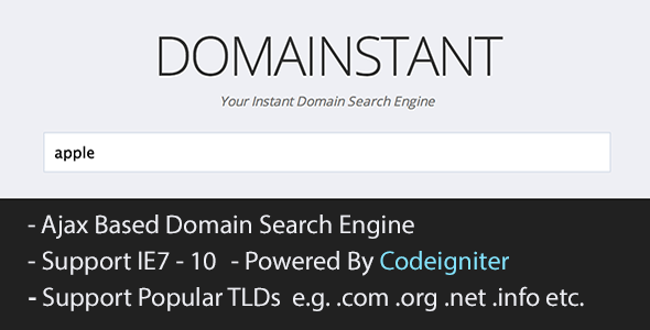 CodeCanyon CodeIgniter AJAX Instant Domain Name Search Engine 4762947