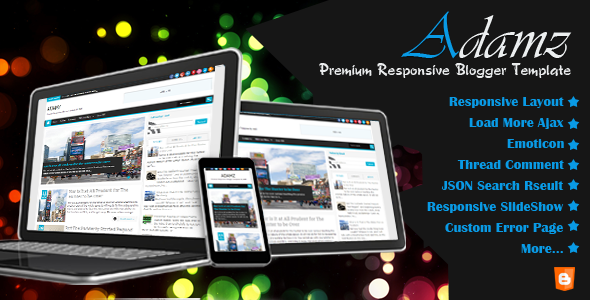 ThemeForest Adamz Responsive Blogger Template 4780081