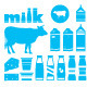 Set Icons of Milk, Dairy Products and Cow - GraphicRiver Item for Sale