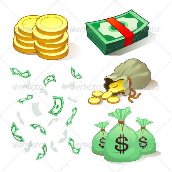Money And Coins - Objects Vectors