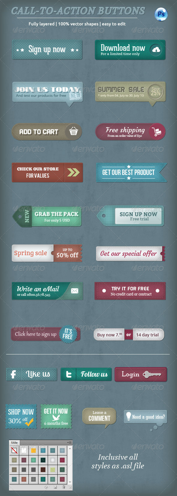 GraphicRiver Call-To-Action Buttons Vol.II 4780787