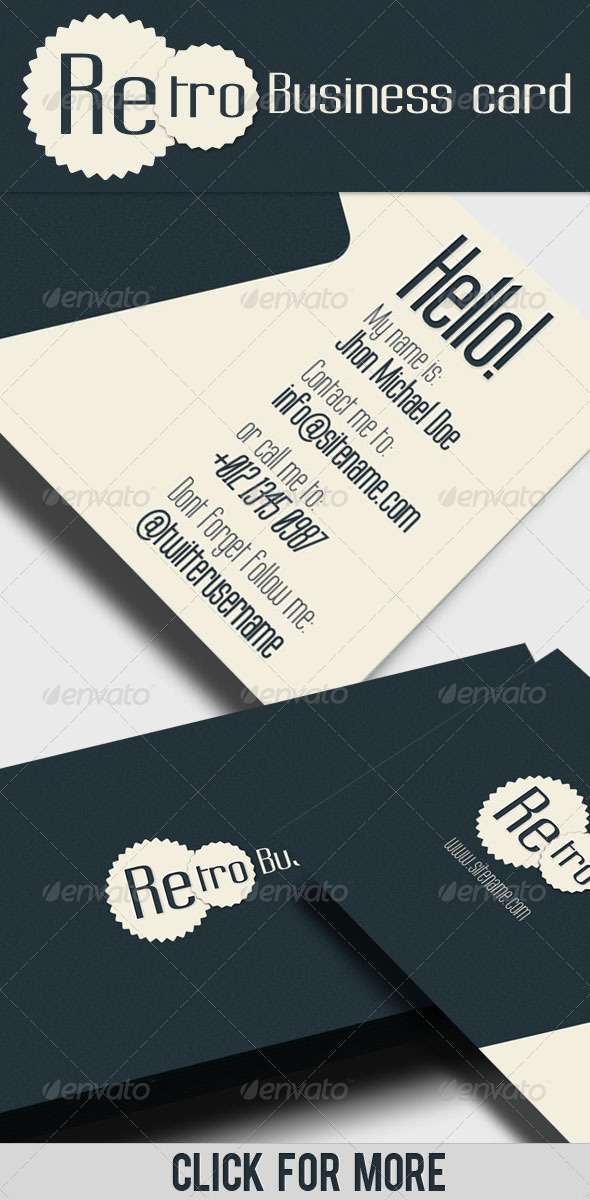 Business Card - Retro II - Corporate Business Cards
