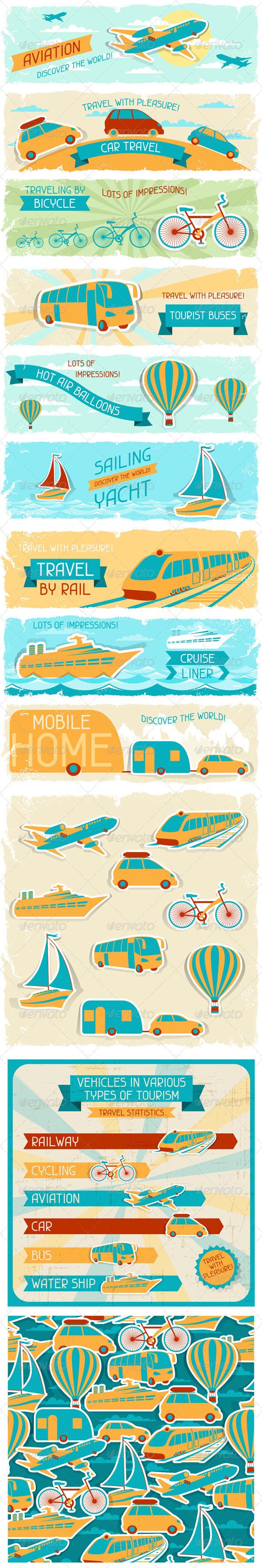 GraphicRiver Set of Tourist Designs in Retro Style 4780806