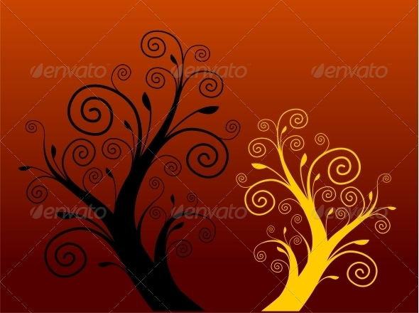 GraphicRiver Tree Silhouette 4782184