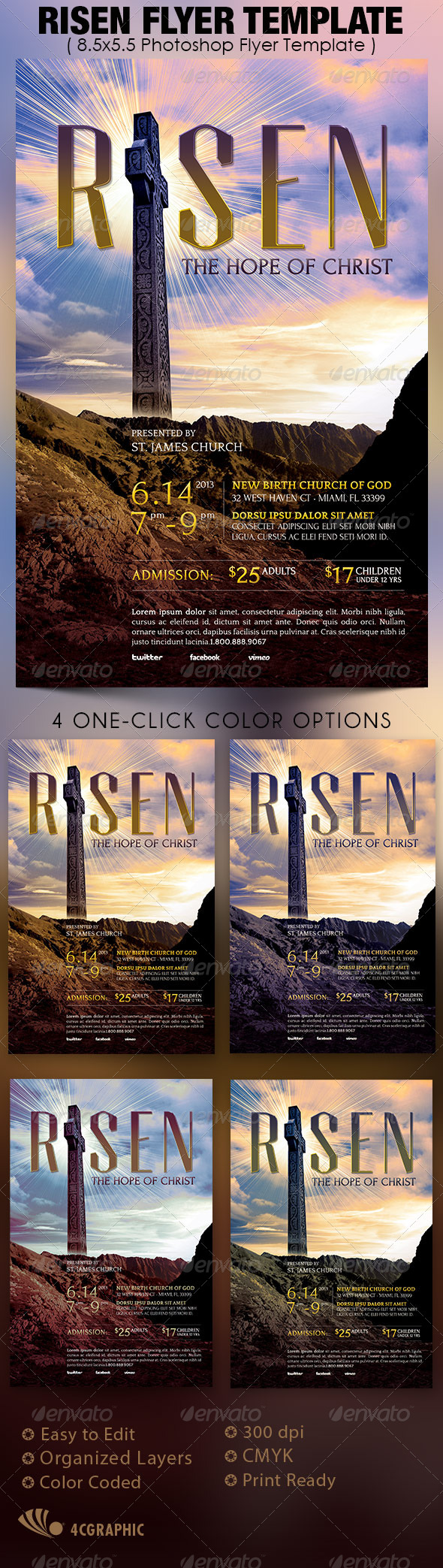 Risen Flyer Template - Church Flyers