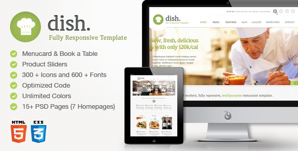 Dish Multipurpose Site Restaurant Template - Restaurants & Cafes Entertainment