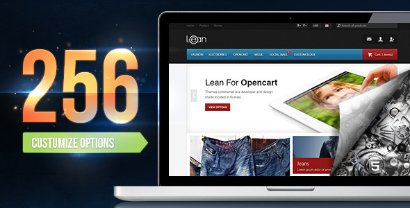ThemeForest Lean Customizable Opencart Theme 4783312