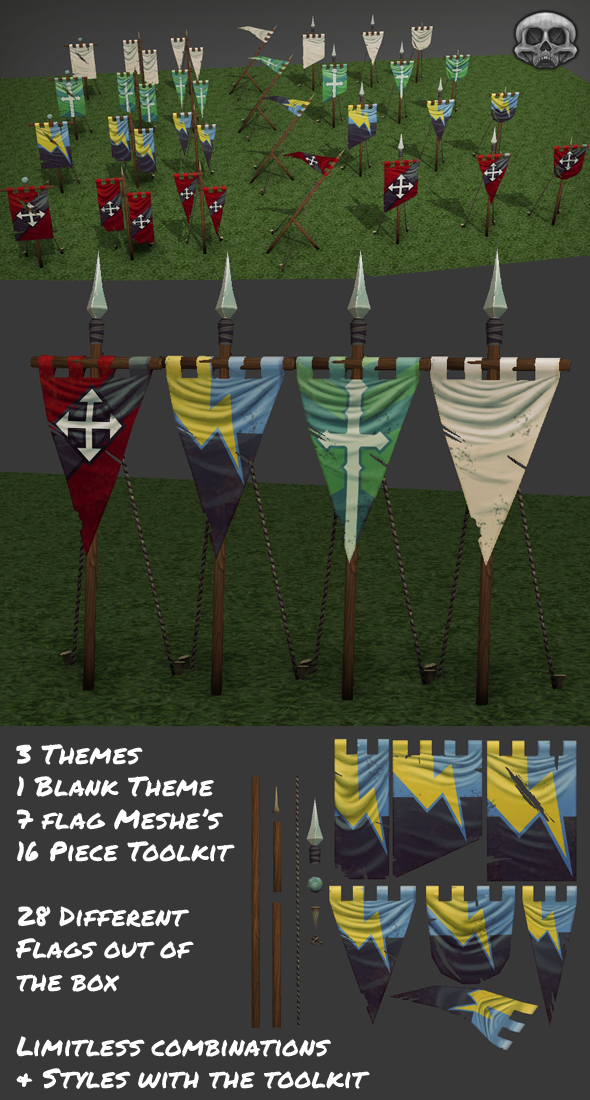 3DOcean Hand Painted Low Poly Flag Set 4783443