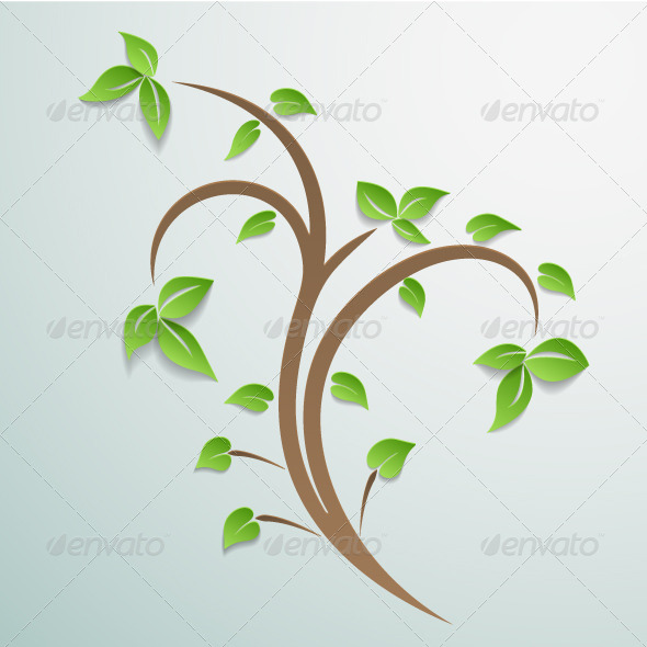 GraphicRiver Abstract Tree with Leaves Background 4783462
