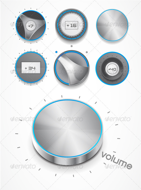 Volume knobs GraphicRiver - Vectors -  Conceptual  Technology  Media 499600